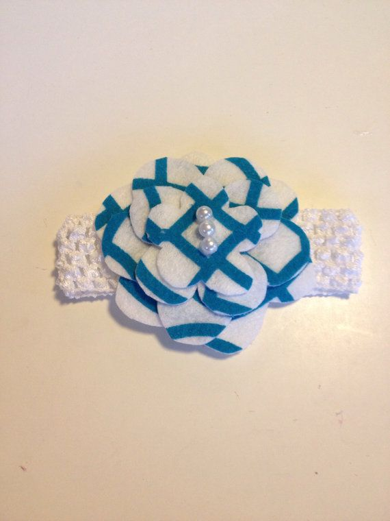 Infant Toddler Girls Turquoise Flower Crochet Headpiece Hairpiece Hairbow Hair Accessories on Etsy, $7.00
