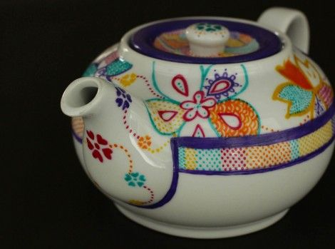 Medium Teapot from the Osaka collection. Inspired by the colourful modern & traditional Japanese designs. Hand Painted Ceramics by artist Caro Spinette. Photo by Kate Sims