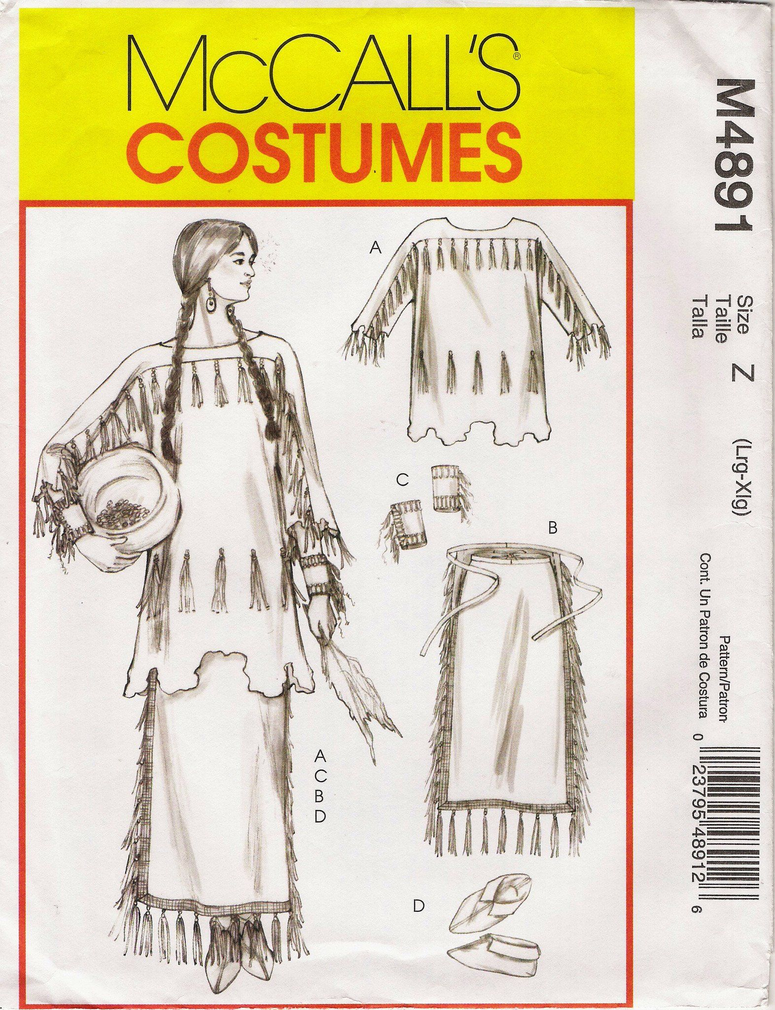 McCall's 4891 Misses' Native American Plains Costume