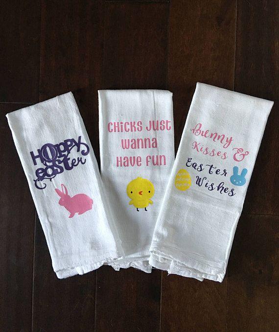 Easter Spring Kitchen Towels Flour Sack Custom Tea Towel