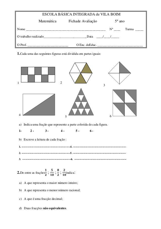 Escola Basica Integrada De Vila Boim Matematica Fichade Avaliaca