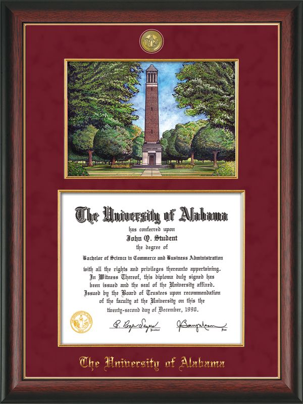 University of Alabama - Tuscaloosa - Diploma Frame : W/Medallion ...