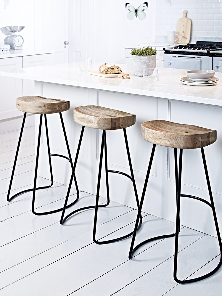 A Contemporary Twist On Our Bestselling Weathered Oak Stool This Stylish High Stool Features Nat Kitchen Stools Stools For Kitchen Island Farmhouse Bar Stools