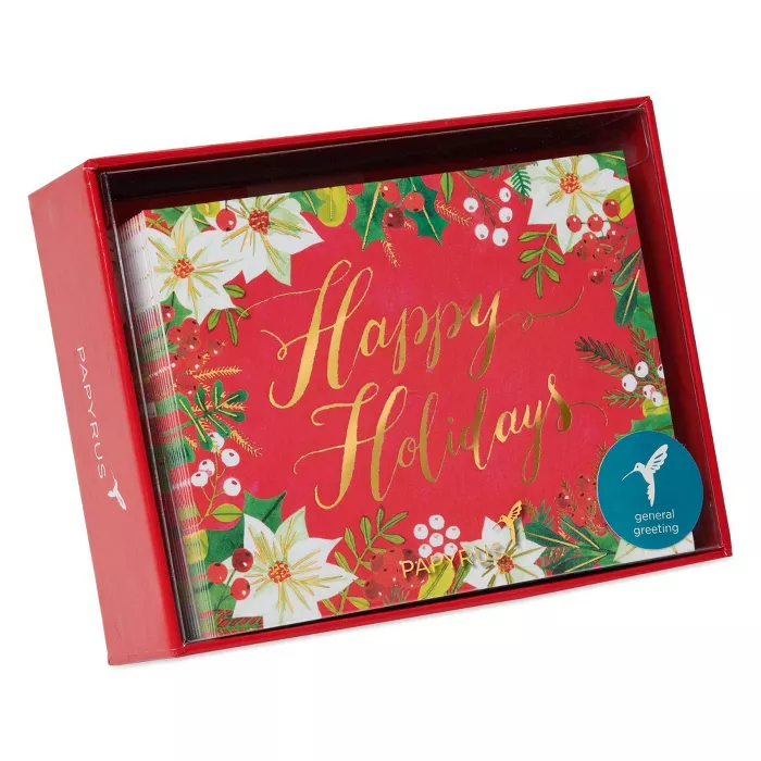 20ct Papyrus Happy Holidays Glitter Boxed Holiday Greeting