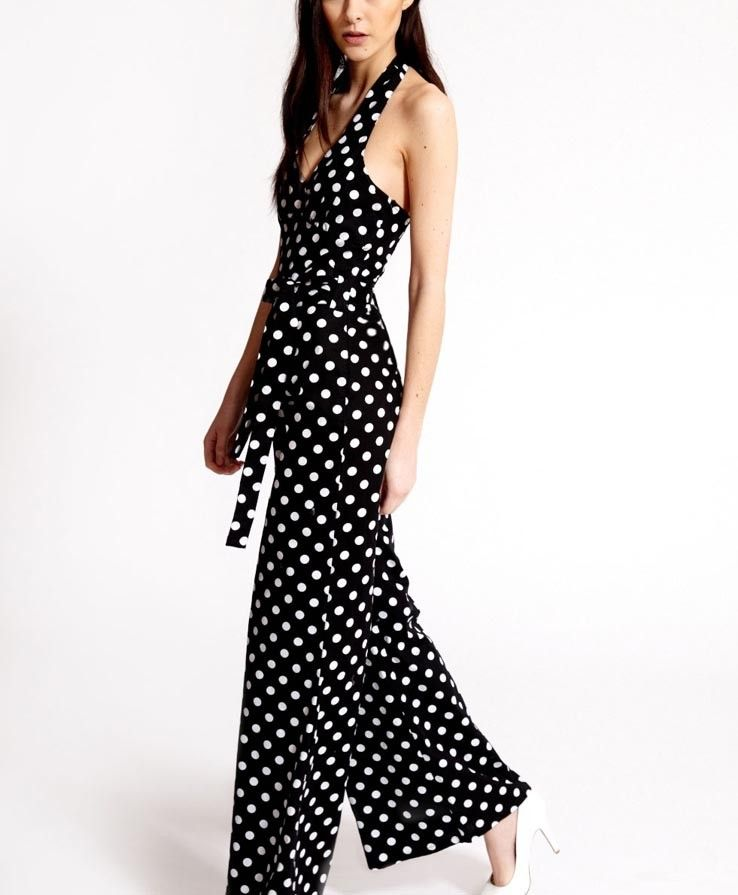 81498ff73613 Black Polka Dot V Neck Halter Jumpsuit   Rompers And Jumpsuits For  Women-Strapless Jumpsuit