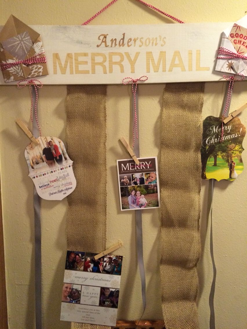 Merry mail Christmas card holder. Stickers, paint (peel stickers ...