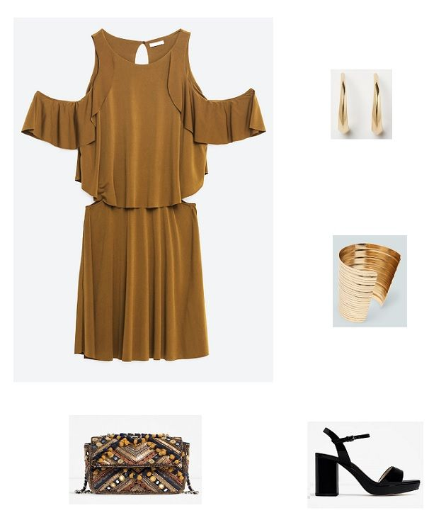 Ochre cold shoulder dress+black heeled sandals+gold jewelry+black, moustard and brown embroidered clutch. Summer Graduation Event Outfit 2016
