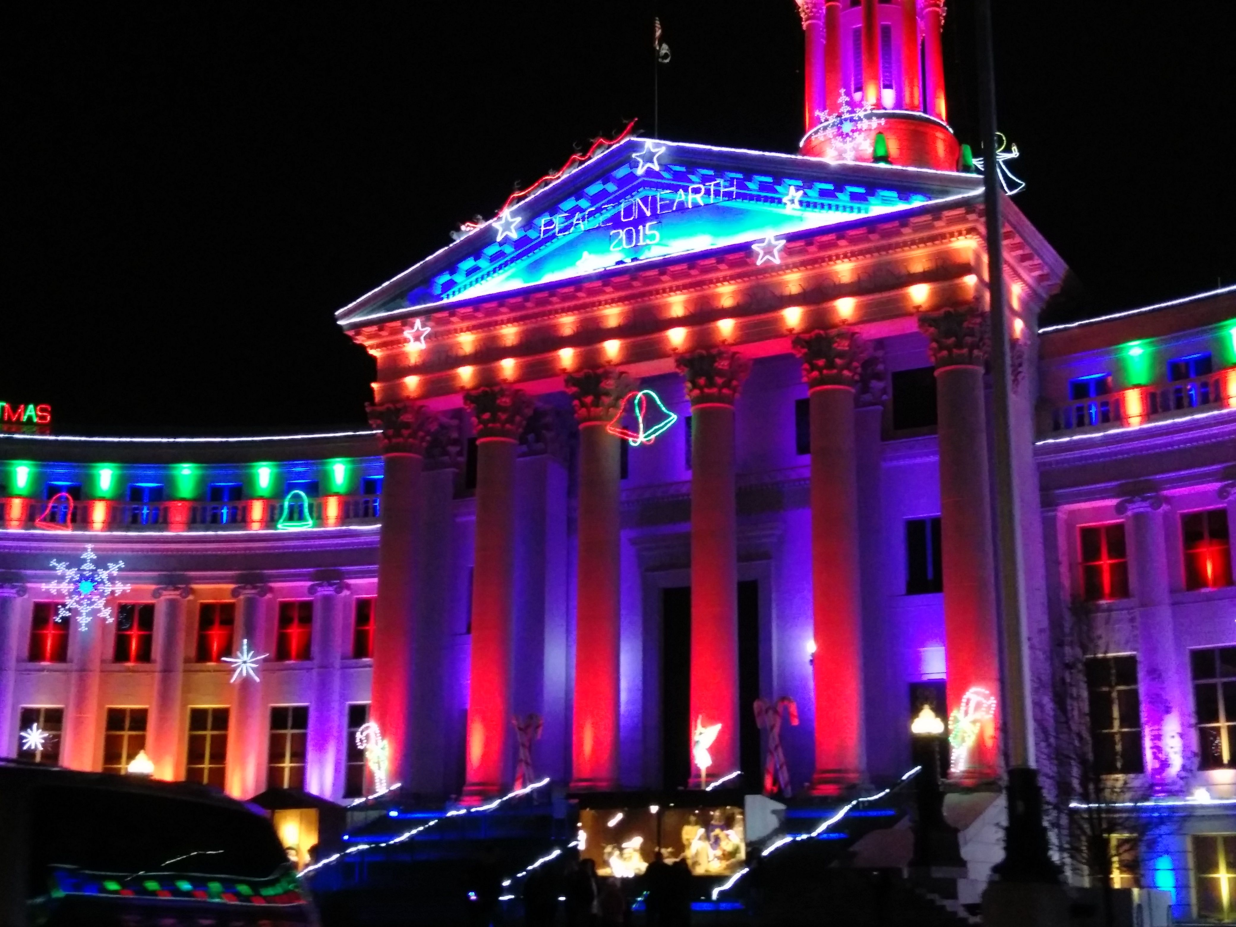 The City & County Building in downtown Denver is all lit up for the holidays.