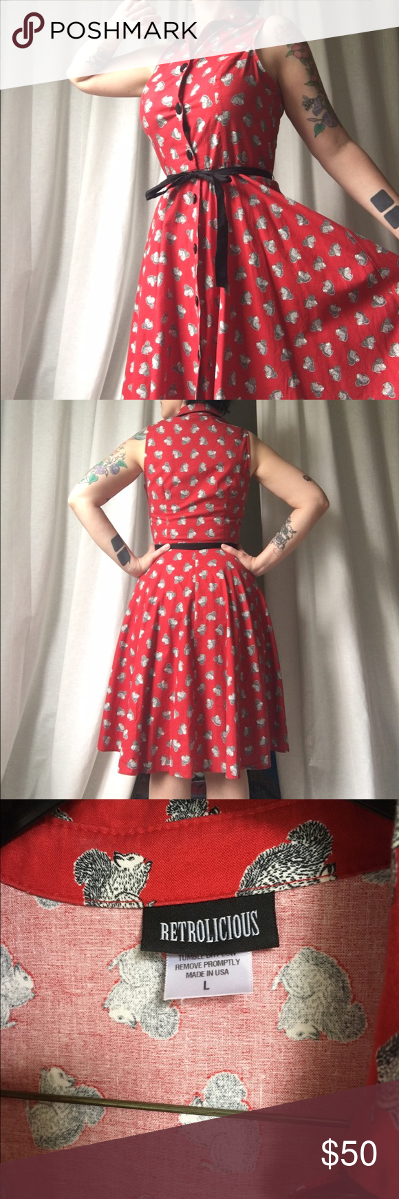 retrolicious squirrel print dress adorable red squirrel print