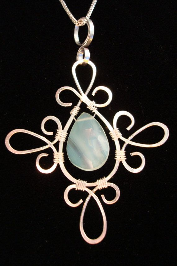 Pendant Wire Wrap Silver Pale Blue Chalcedony by ArtfullyWrapped ...