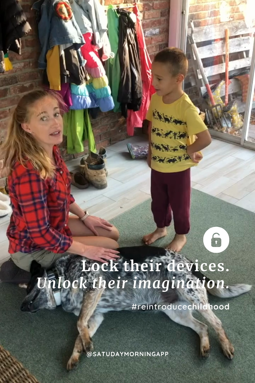 Reintroduce childhood by playing make-believe with your kids. There's no need for screens when their imagination is taking charge. #reintroducechildhood #saturdaymorningapp #parentswinning #parentingtips #parenting101 #parenting #parenthood #motherhood #momlife #dadlife #familytime