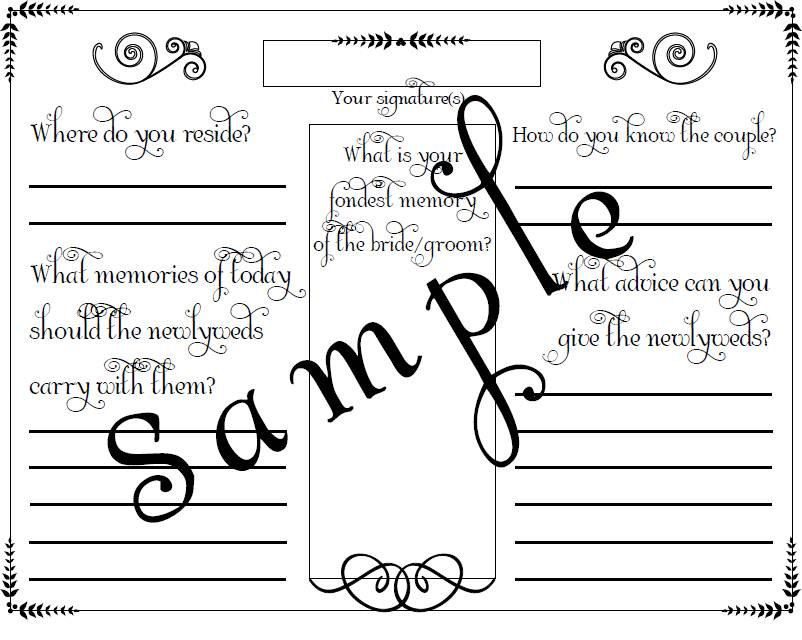 Wedding Guest Book Page Pdf File Template  X  Inches A