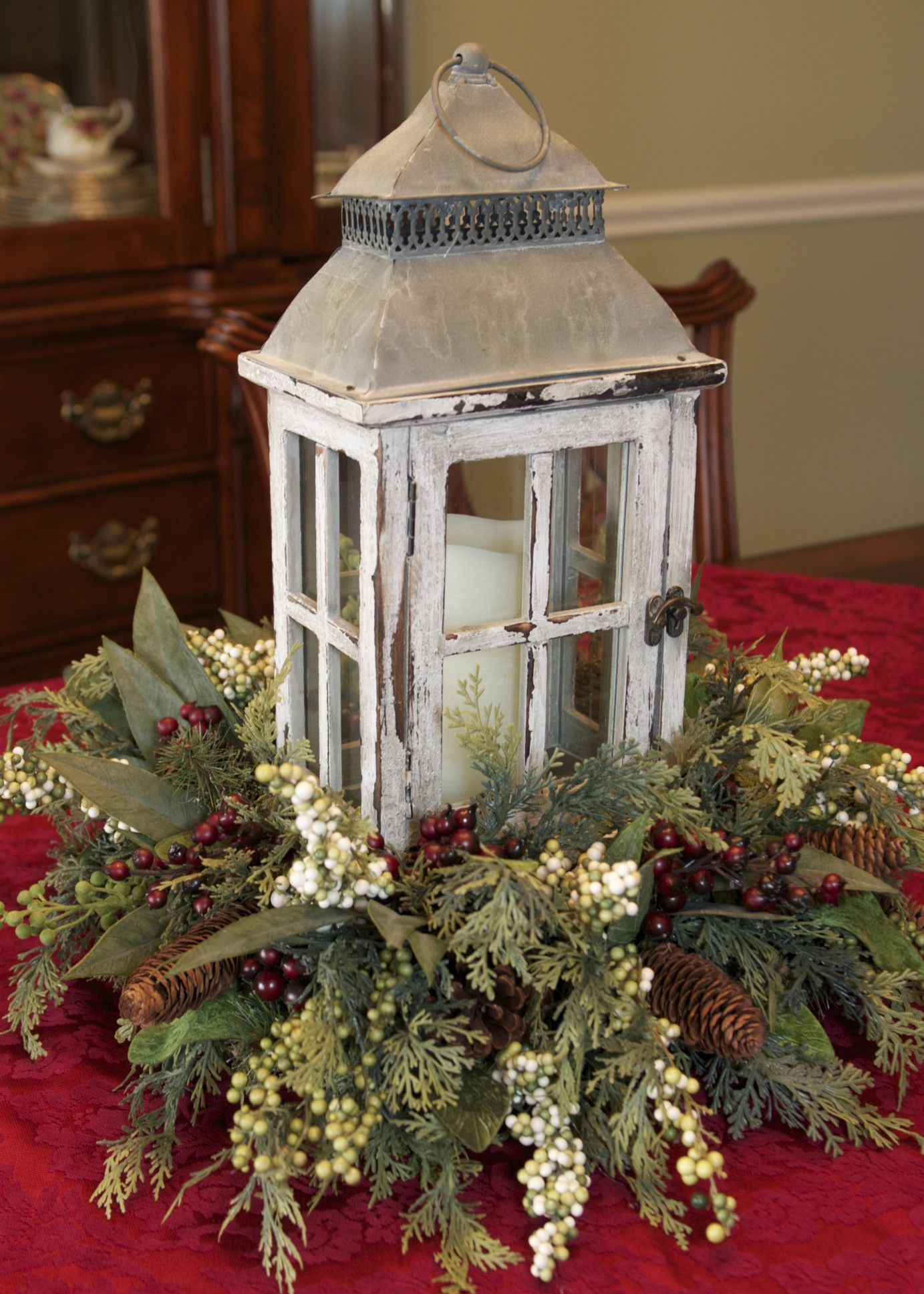 Winter lantern centerpiece by linda rosia it 39 s the most for Find christmas decorations