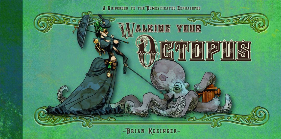 Walking your octopus Steampunk illustration, Octopus art