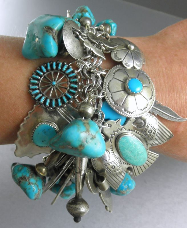 281g Navajo Hopi Zuni Charm Turquoise Bracelet Arrows Thunderbird Snake Prayer