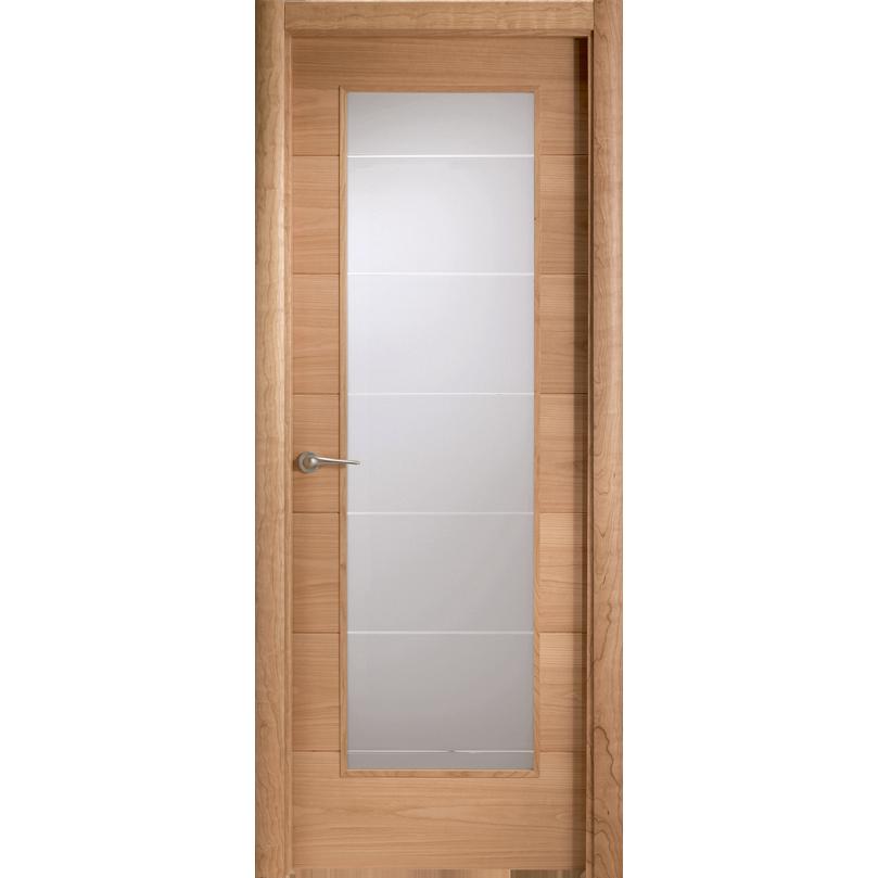 Puerta de madera de roble y cerezo con cristal pr42 1v for Puertas de cristal para interiores