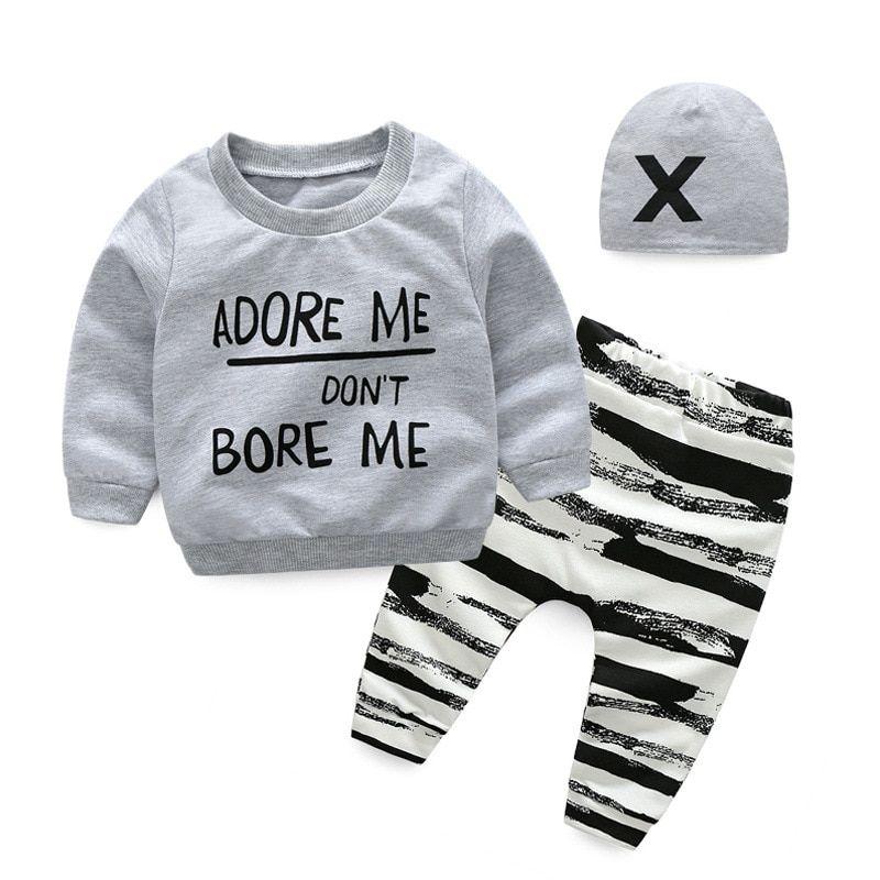 Baby Boys Clothes Set  Hoodies Jacket Tshirt Pants 3PCS Autumn Newborn Clothing