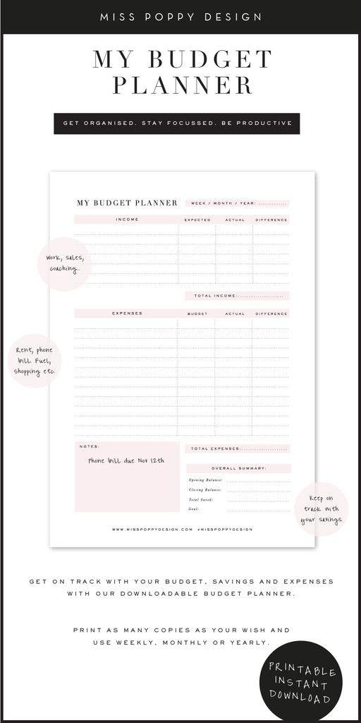 budget planner printable printables pinterest budget planner
