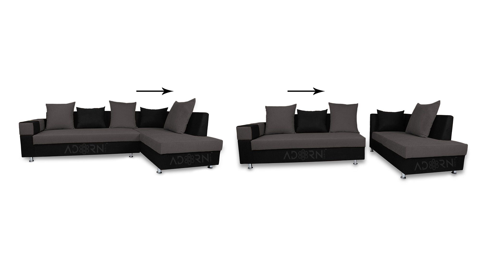 Adorn India Adillac 5 Seater Corner Sofa Right Side Grey Black Amazon In Electronics In 2020 5 Seater Corner Sofa Corner Sofa Outdoor Furniture Sets