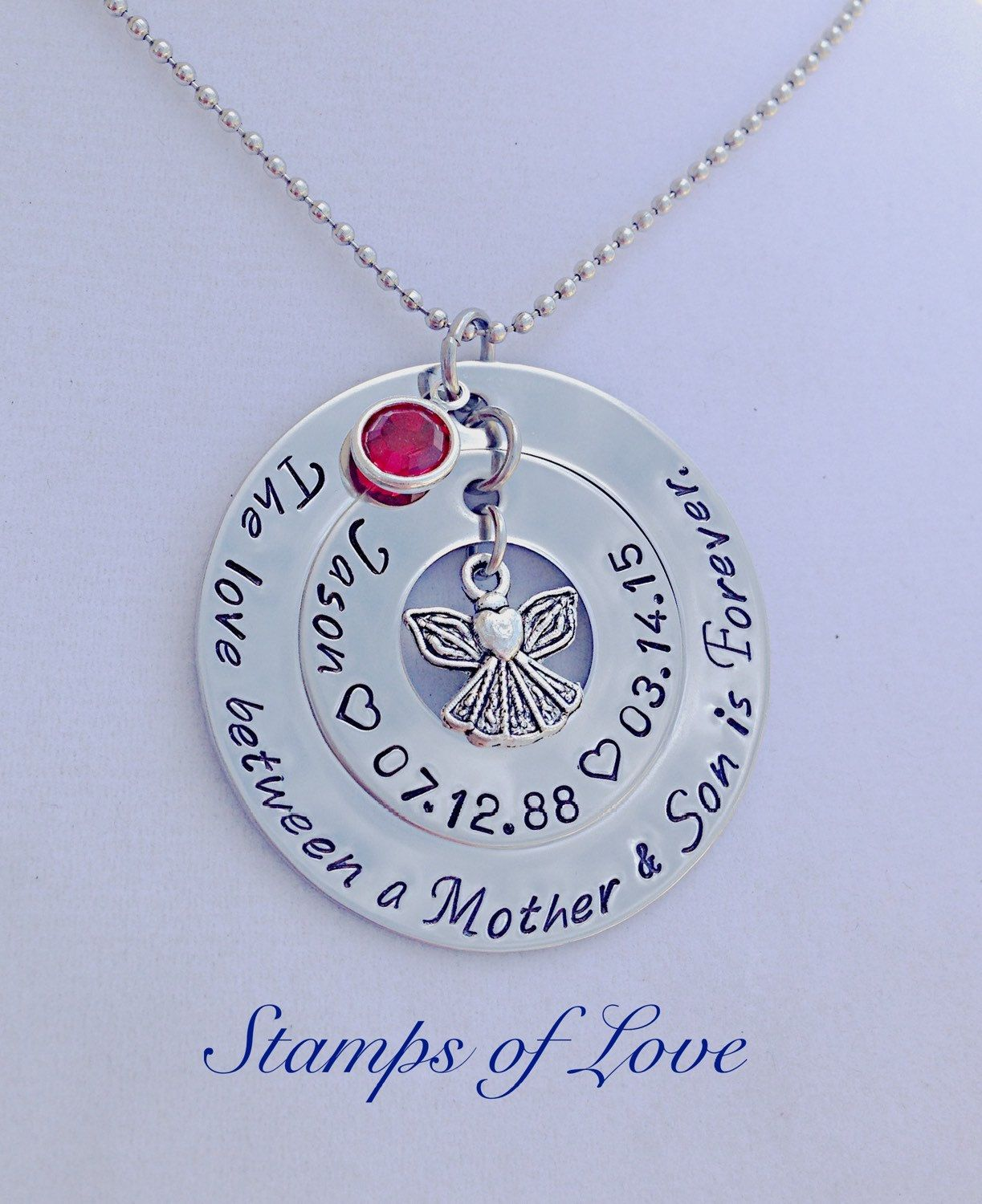 Loss of son personalized memorial necklace for mom the
