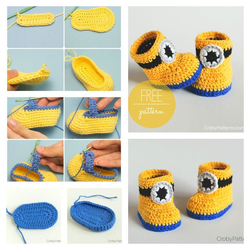 Minion Crochet Booties with Free Pattern | Minion crochet, Free ...