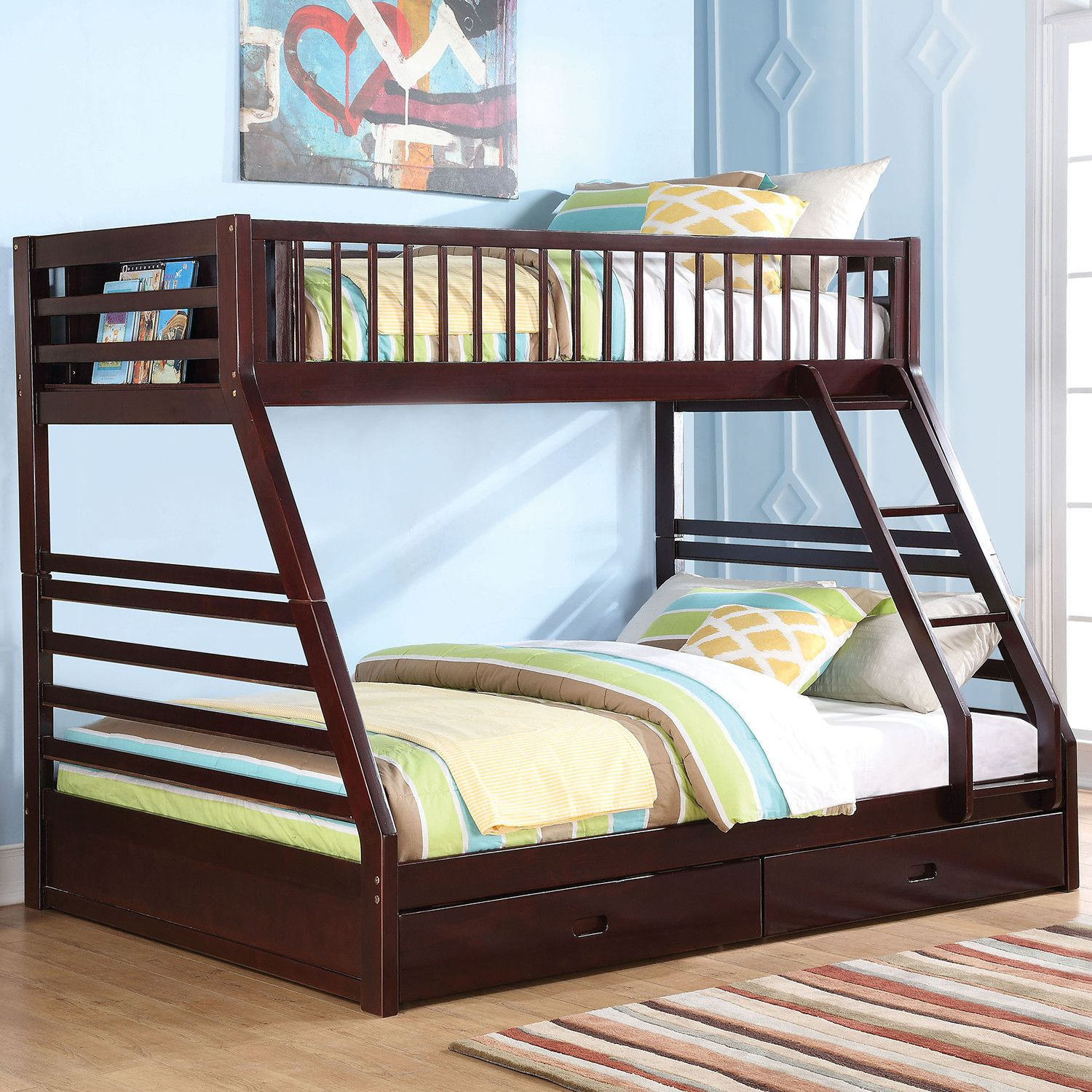 Jason XL Twin over Queen Bunk Bed w/ Drawer in Espresso by