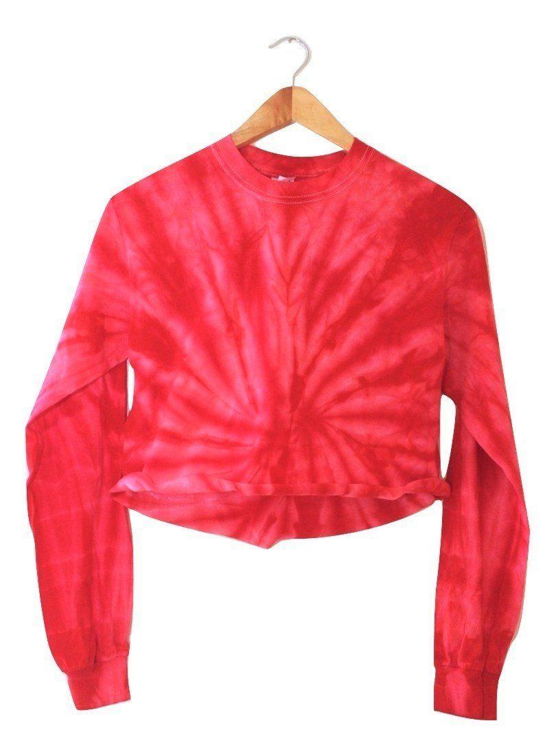 0115c8847bc29c Cherry Red Tie-Dye Cropped Long Sleeve Unisex Tee