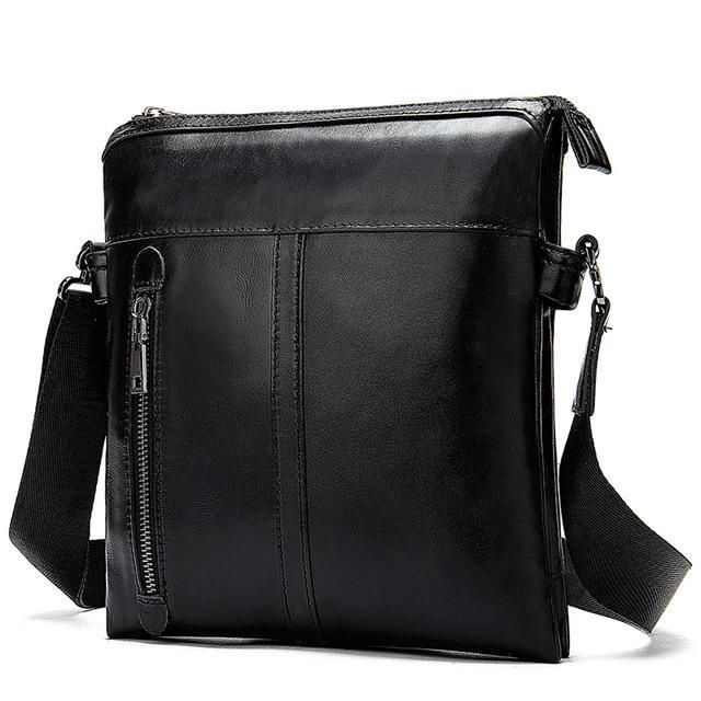 MROYALE™ Men's 100% Leather Crossbody Shoulder Messenger Satchel Bag - Black