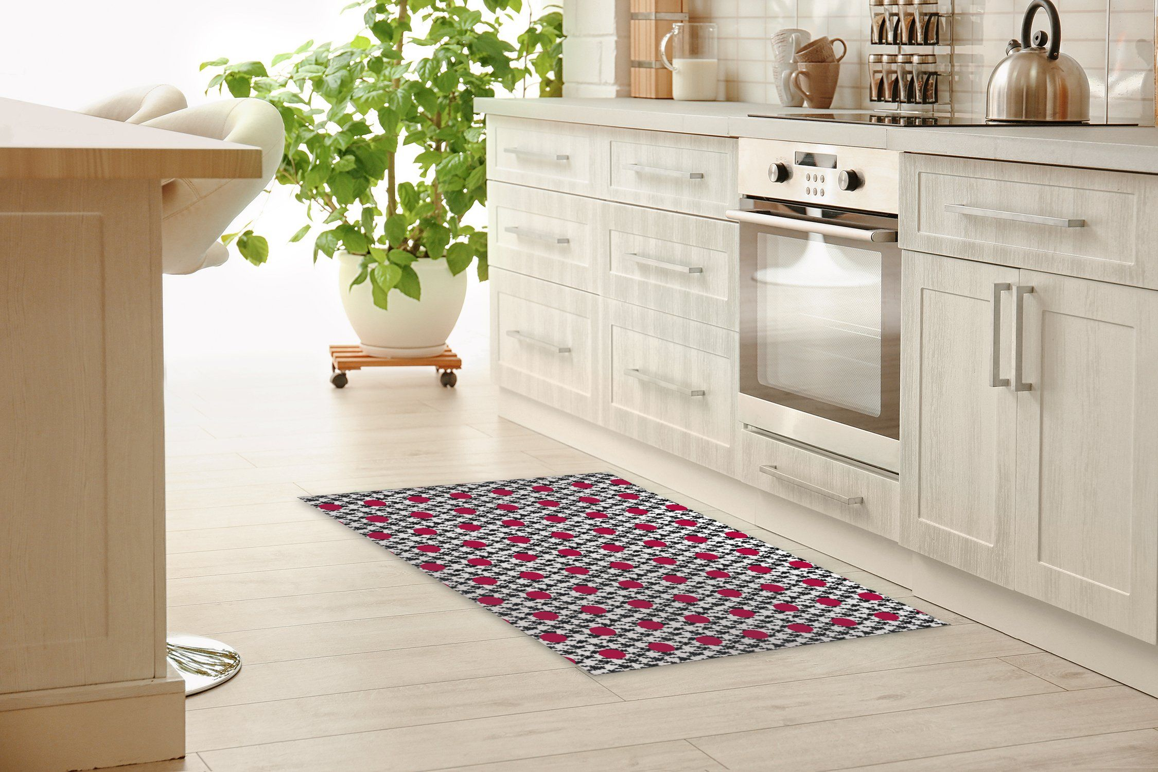 HARRIS BLACK AND RED Kitchen Mat By Becky Bailey - 2ft x 3ft