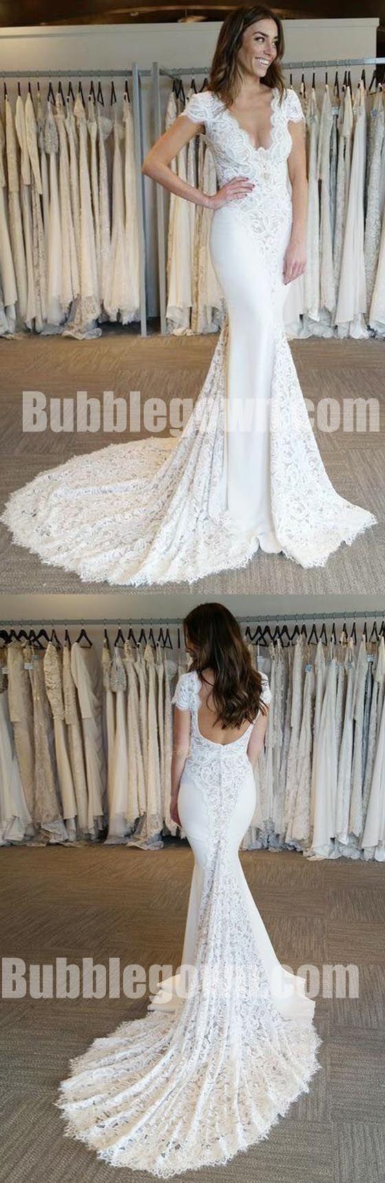 Cap sleeves v neck lace mermaid elegant long wedding dresses bgw