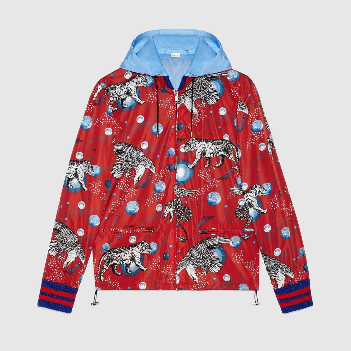 389b32e29 GUCCI Space Animals print windbreaker - red nylon. #gucci #cloth ...