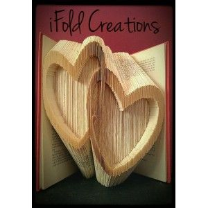 Two Hearts - book folding pattern - book folding template - bookfold ...
