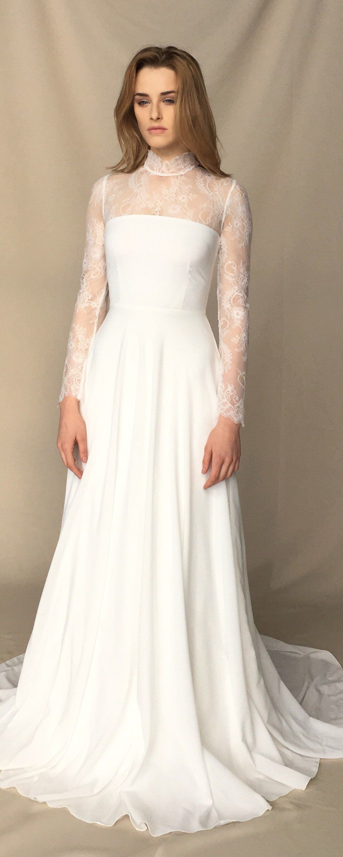 Lace wedding dress high neck light ivory wedding gown offwhite