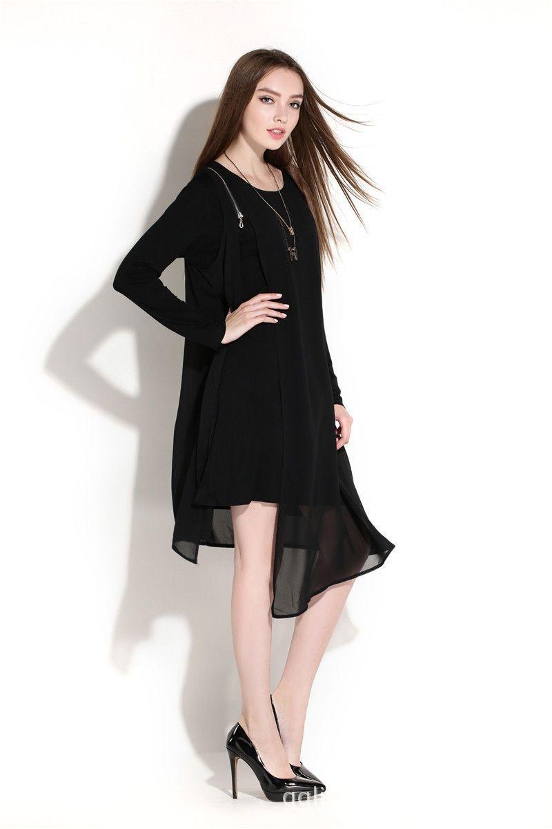 European Women Long Sleeve Chiffon Dress irregular hem spring large size oblique zipper asymmetrical faux two vestidos XXXXL