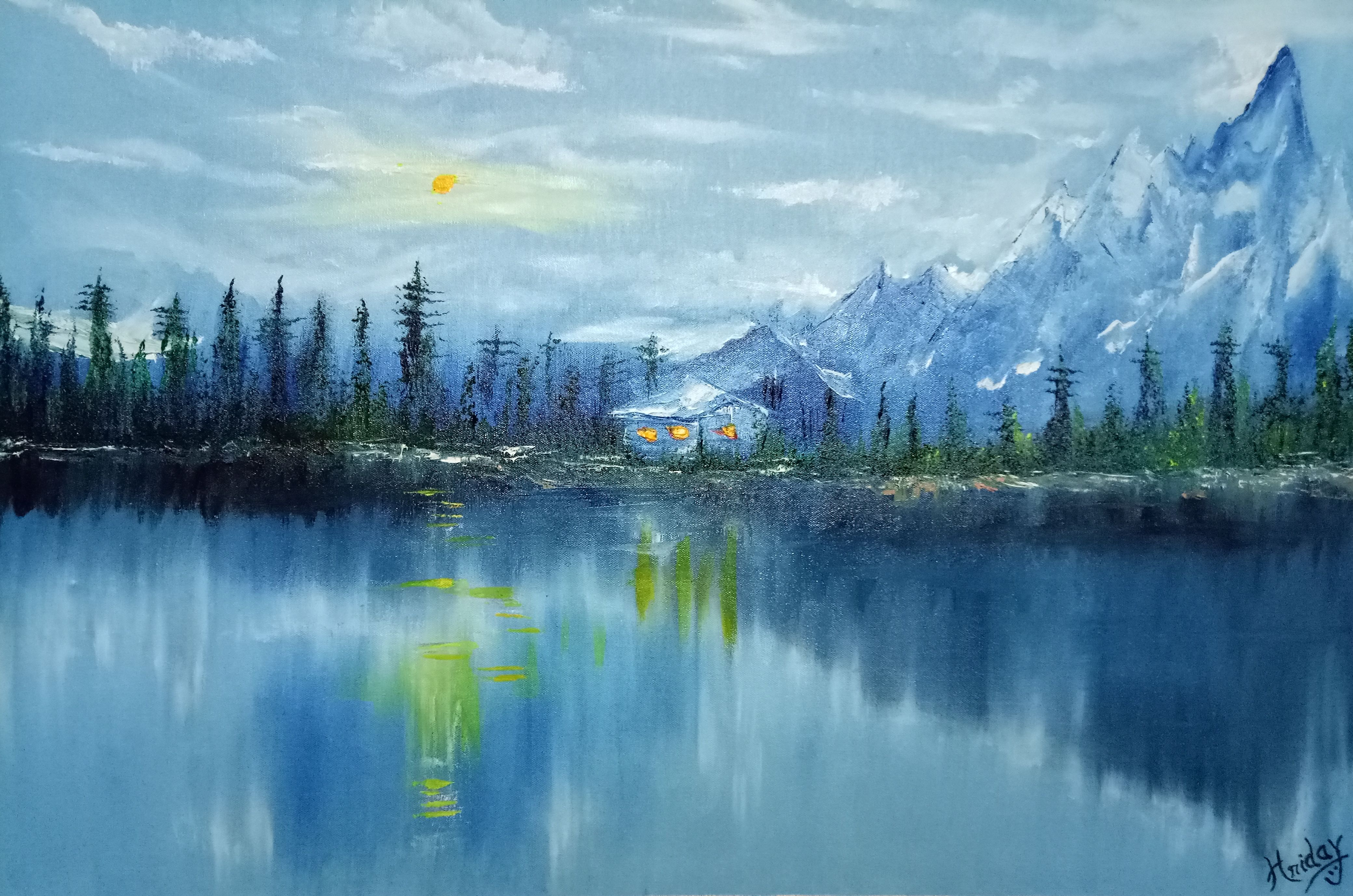 A Masterpiece Which Gives A View Of Mountain S Beauty Dusted With Snow The Hues Of White And Blues Bring Icy Guise T Nature Paintings Online Painting Painting