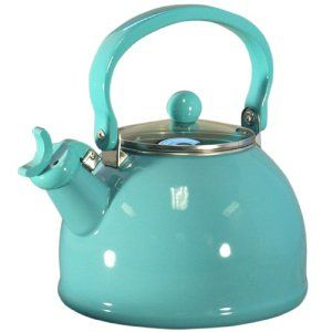 Turqoise Tea Kettle ~ amazon.com / My kitchen WILL be this color.