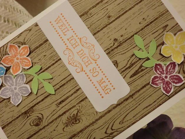 Liebe & Freundschaft - Weil ich dich so mag - Grußkarte - ein Designerstück von kreativesherzerl bei DaWanda