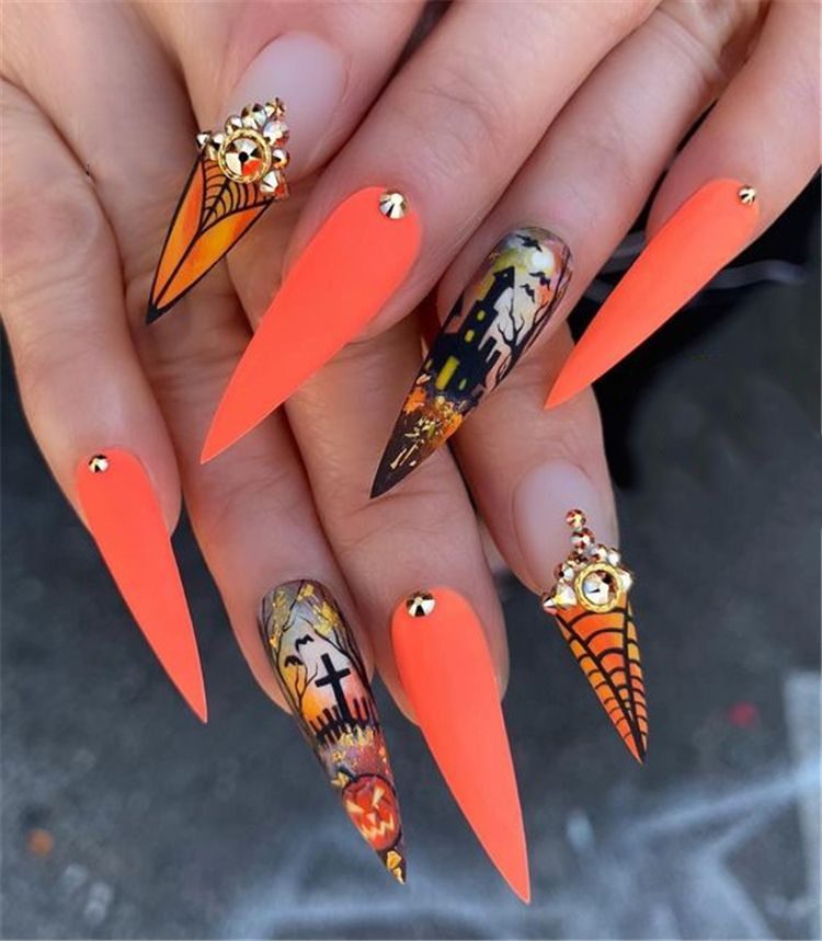 36 Gorgeous Trend Stiletto Nails In 2019 Halloween Nail Designs Halloween Nails Cute Nails