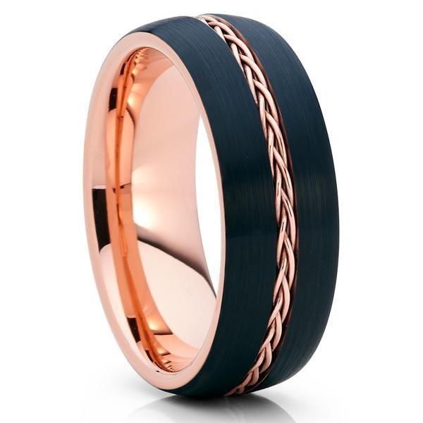 8mm - Rose Gold Tungsten - Black Wedding Band - Braid Ring - Tungsten Ring