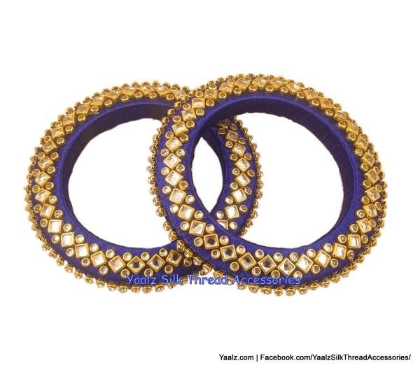 495015f29 Yaalz Silk Thread Rich Kundan Stone 'V' Shape Bangle Pair In Dark Blue  Colors