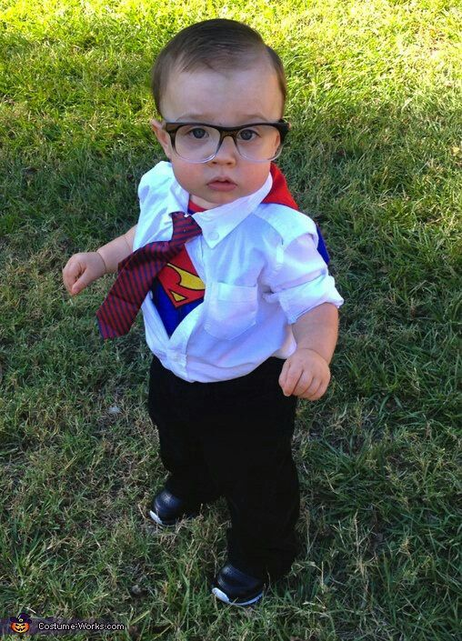 The little Clark Kent / little Superman toddler baby costume for Halloween