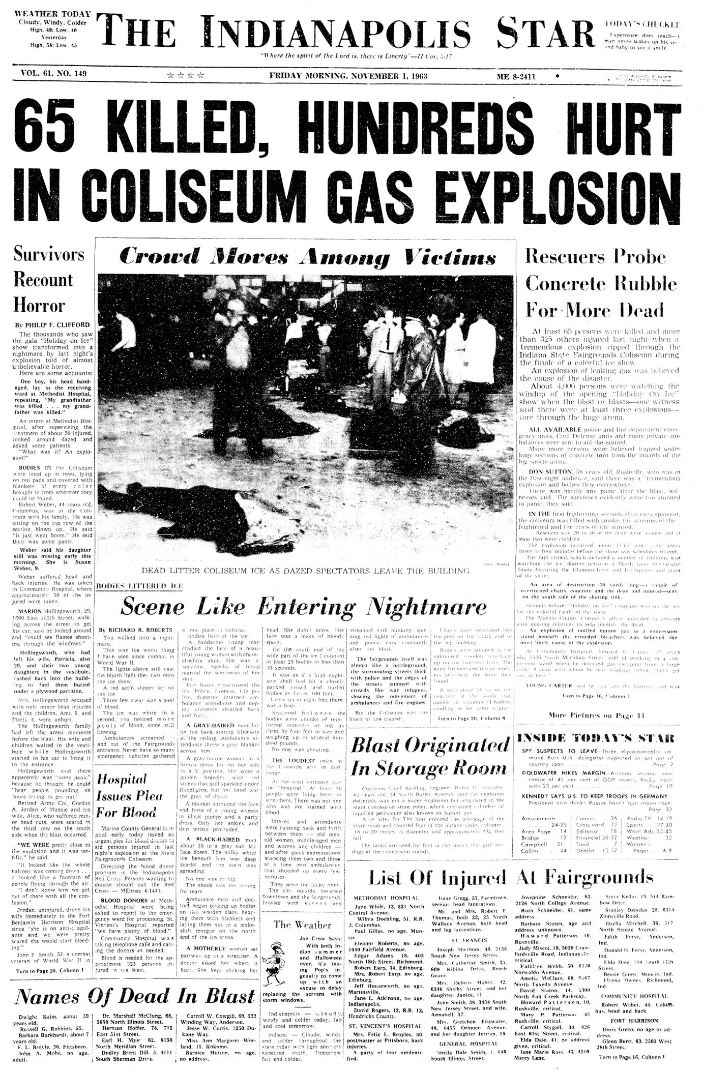 Indiana State Fair Coliseum explodes killing 65 on Oct  31