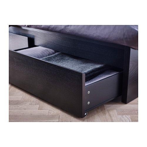 MALM Estruc cama alta+2 cj, negro-marrón | Malm