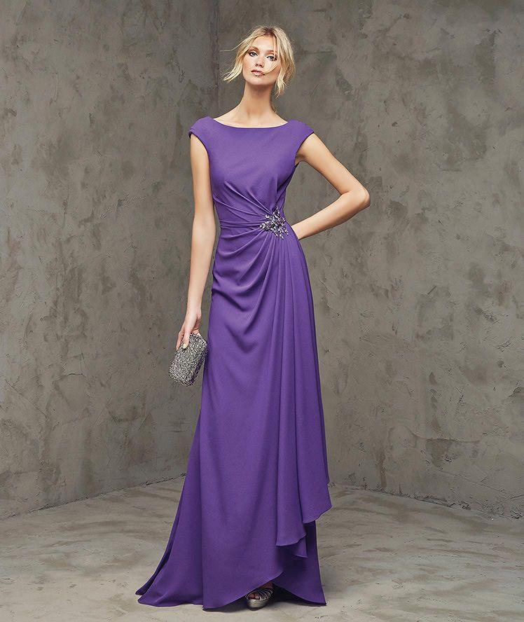 Fabiana, Vestido de fiesta largo, escote barco | vestidos ...