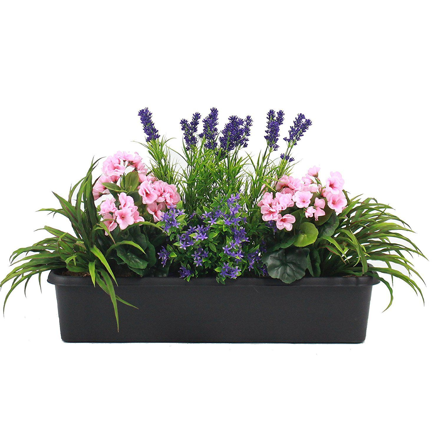 Artificial mixed flower window box trough container with yucca