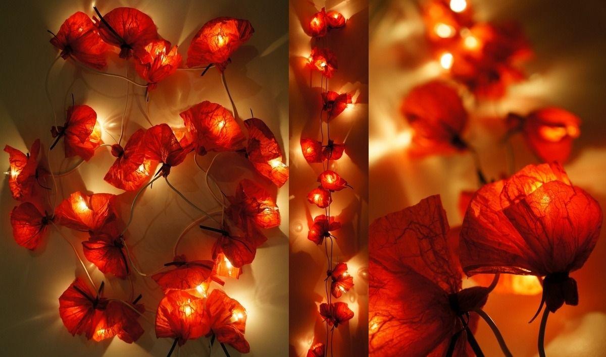Guirlande lumineuse 20 coquelicots en papier de soie rouge