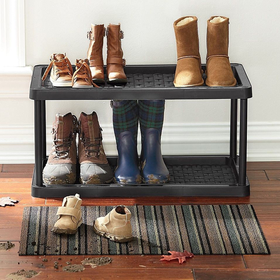 2 Tier Boot And Shoe Organizer Bed Bath Beyond Boot Tray Shoe Organizer Boot Organization