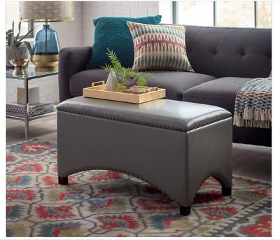 Details about Gray Faux Leather Storage Ottoman Co