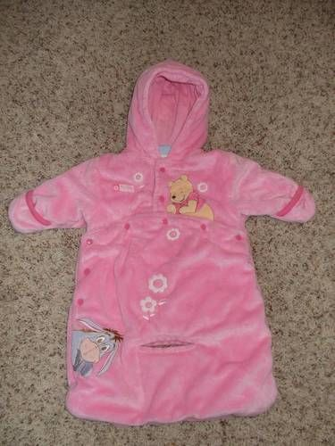 d742e1b24 Disney Winnie the Pooh Baby Bunting Snowsuit Carseat Opening Girls 0 - 3 EUC