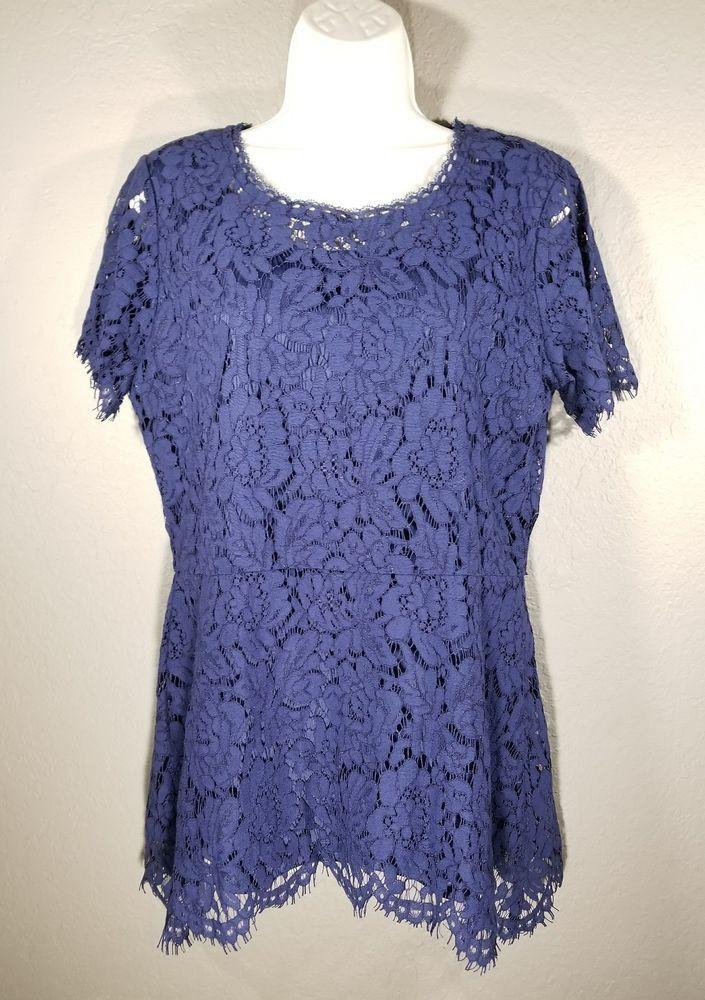 Izaac Mizrahi Live M Navy Blue Floral Lace Short Sleeve Top Clothing Shoes Accessories Women S Clothing Tops Blouses Ebay Ebay Floral Lace La